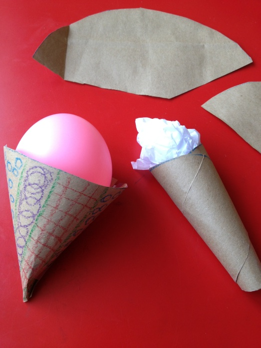 Balloon & paper ice cream in cone