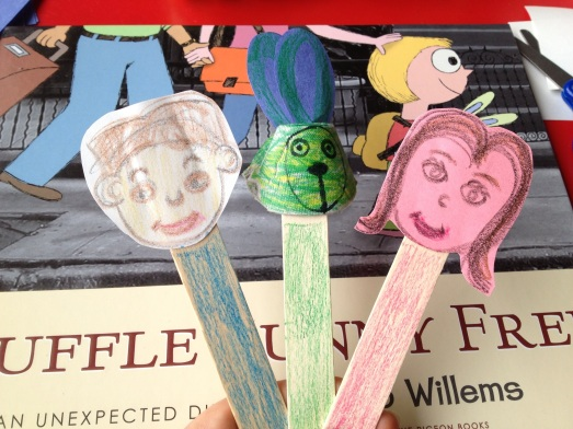 Faces on paper or egg carton, attached to sticks to make puppets